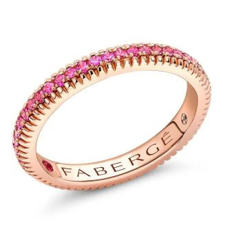 Faberge Colours of Love 18ct Rose Gold Pink Sapphire Fluted Band Ring