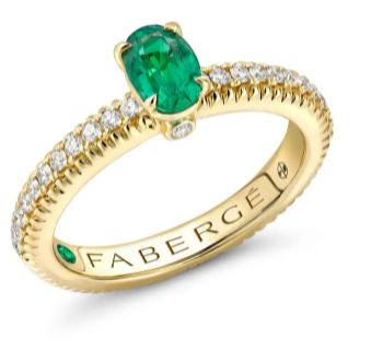 Faberge Colours of Love 18ct Yellow Gold Emerald Diamond Shoulder Set Fluted Ring