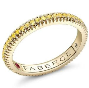 Faberge Colours of Love 18ct Yellow Gold Yellow Sapphire Fluted Band Ring