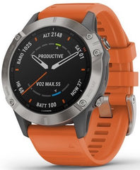 Garmin Watch Fenix 6 Sapphire Orange Band