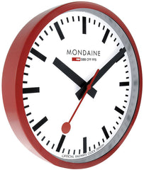 Mondaine Wall Clock Red Frame 25cm