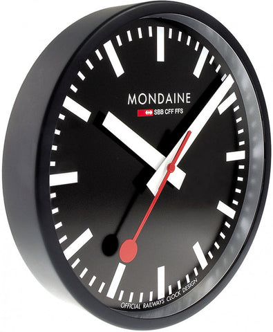 Mondaine Wall Clock Black Frame 25cm