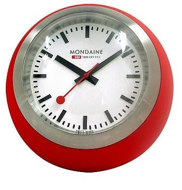 Mondaine Globe Clock Red/White 6cm