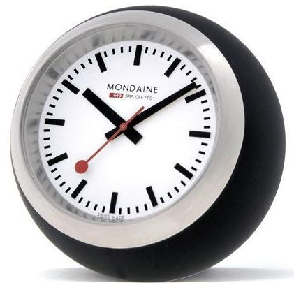Mondaine Globe Clock Black/White 6cm
