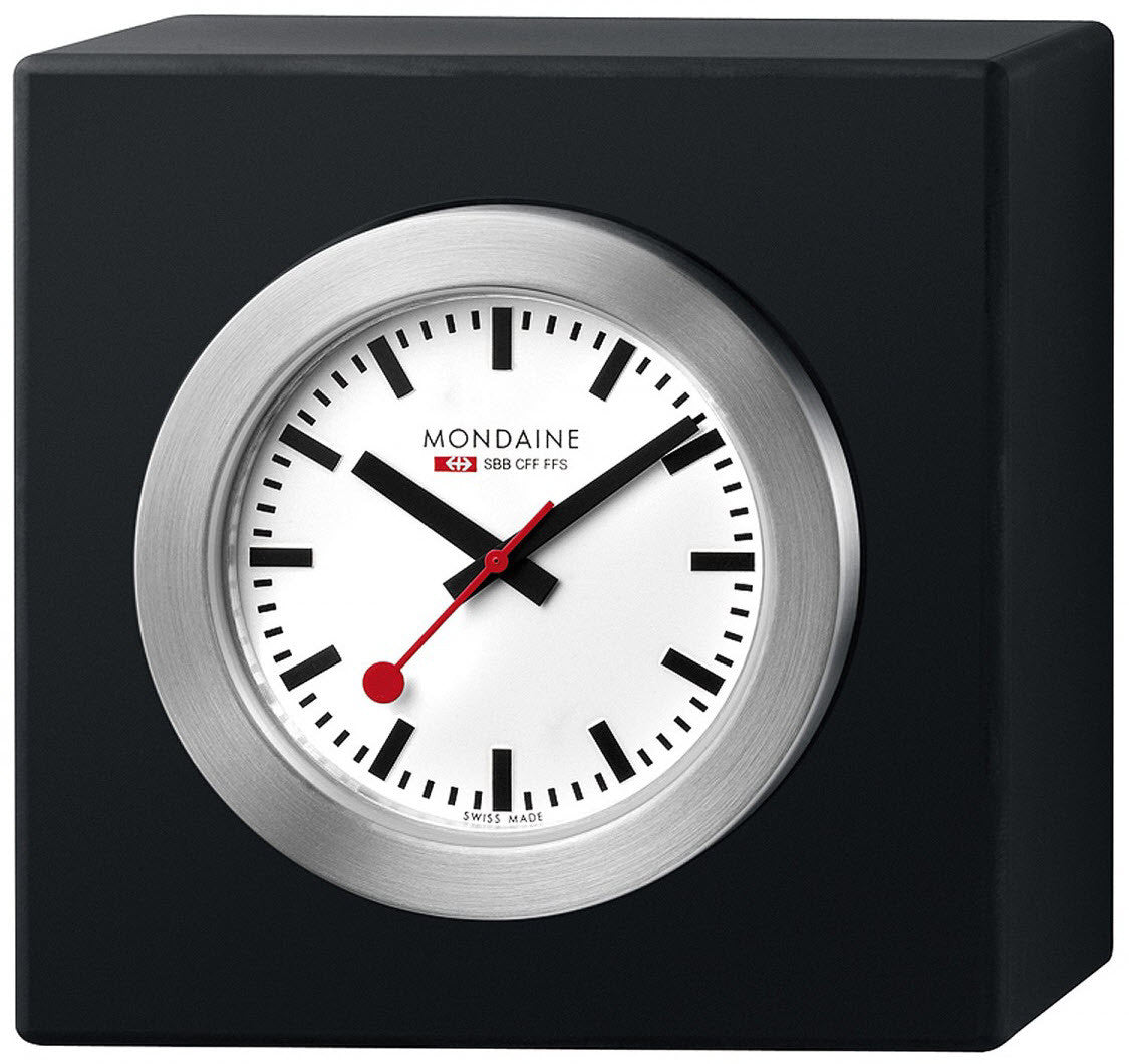 Mondaine Square Desk Clock Magnet Black 5cm