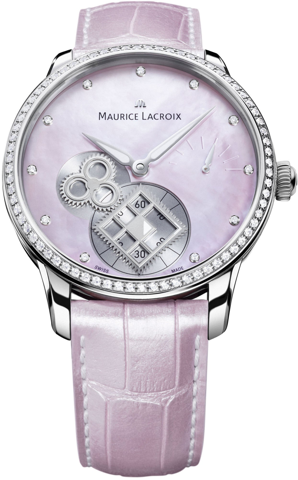Maurice Lacroix Watch Masterpiece Square Wheel Pink Pearl