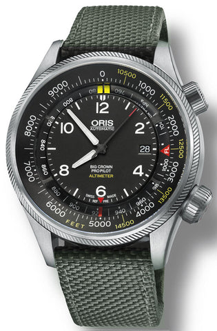 Oris Watch Big Crown ProPilot Altimeter Feet Textile Olive