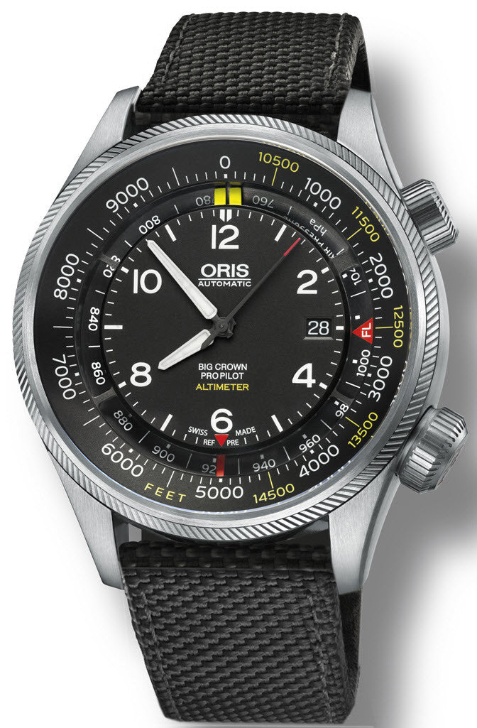 Oris Watch Big Crown ProPilot Altimeter Feet Textile Black