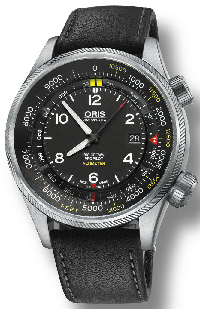 Oris Watch Big Crown ProPilot Altimeter Feet Leather