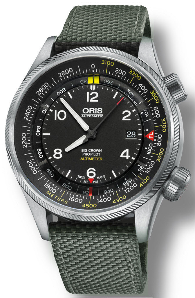 Oris Watch Big Crown ProPilot Altimeter Meters Textile Olive