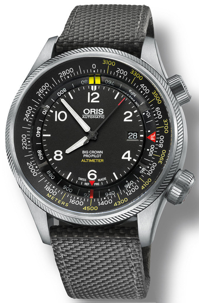 Oris Watch Big Crown ProPilot Altimeter Meters Textile Grey