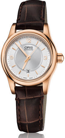 Oris Watch Classic Lady Date Rose Gold PVD Leather
