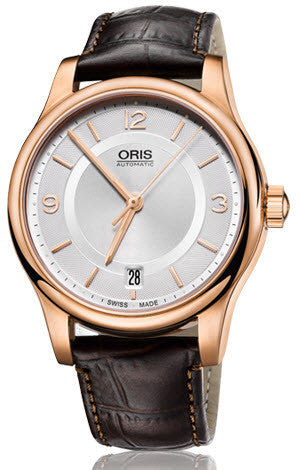 Oris Watch Classic Date Rose Gold PVD Leather
