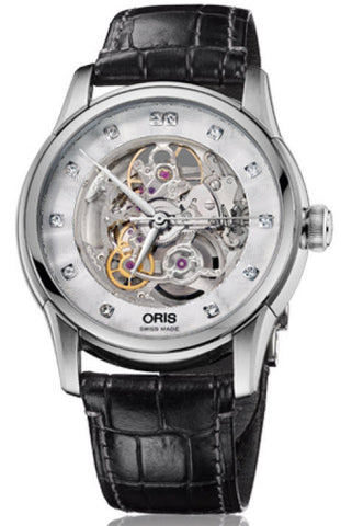 Oris Watch Artelier Skeleton Diamonds Crocodile D