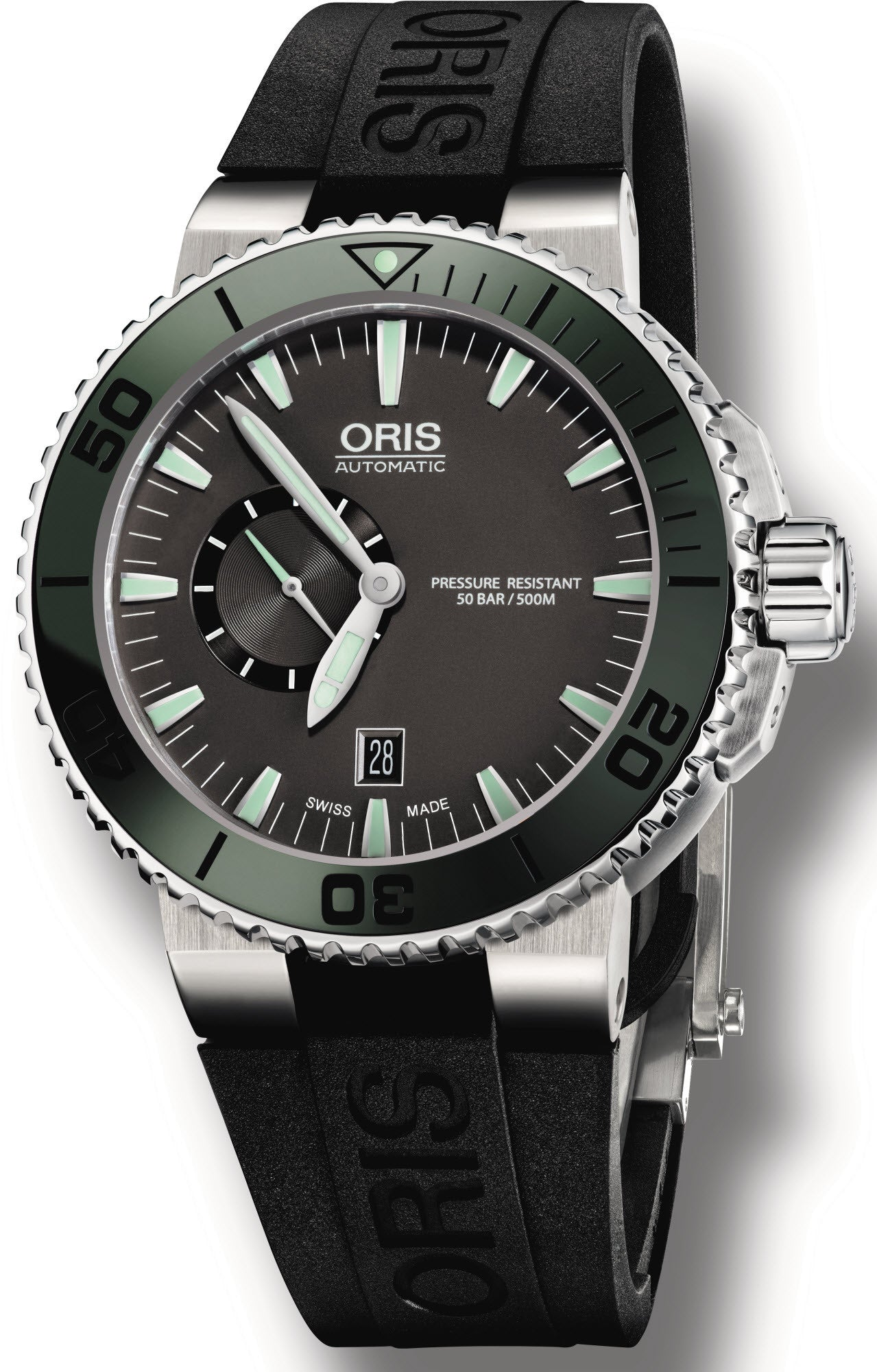 Oris Watch Aquis Date Small Second Dark Green Rubber D