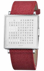 QLOCKTWO Watch W39 Pure White Red Grain Leather