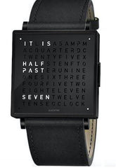 QLOCKTWO Watch W35 Fine Black Steel Black Leather