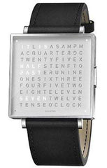 QLOCKTWO Watch W39 Fine Steel Black Leather