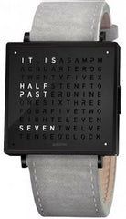 QLOCKTWO Watch W39 Black Steel Light Grey Suede
