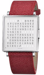 QLOCKTWO Watch W35 Pure White Red Grain Leather