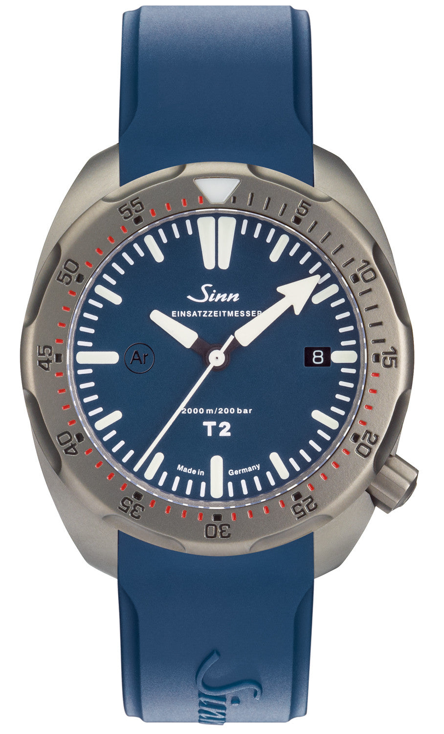 Sinn Watch T2 B EZM 15 Rubber Strap Blue