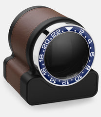 Scatola del Tempo Watch Winder Rotor One Chestnut Blue Bezel