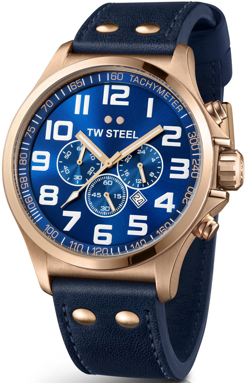 TW Steel Watch Pilot Rose Gold PVD Chronograph 48mm