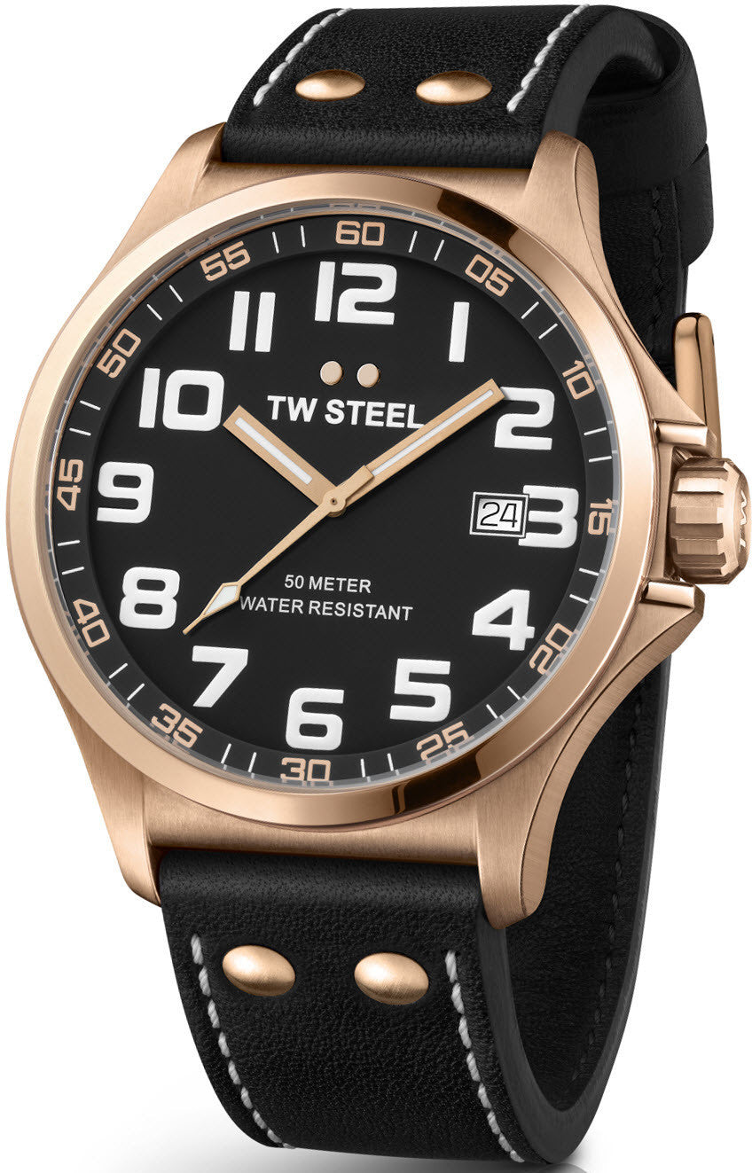 TW Steel Watch Pilot Rose Gold PVD 48mm