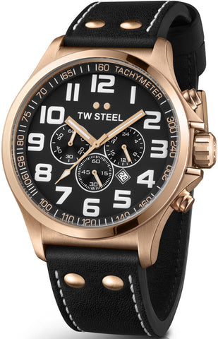 TW Steel Watch Pilot Rose Gold PVD Chronograph 45mm
