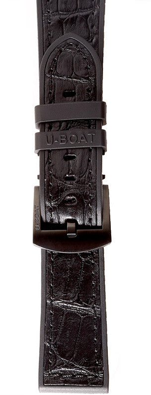 U-Boat 50mm Black Rubber With Dark Brown Alligator