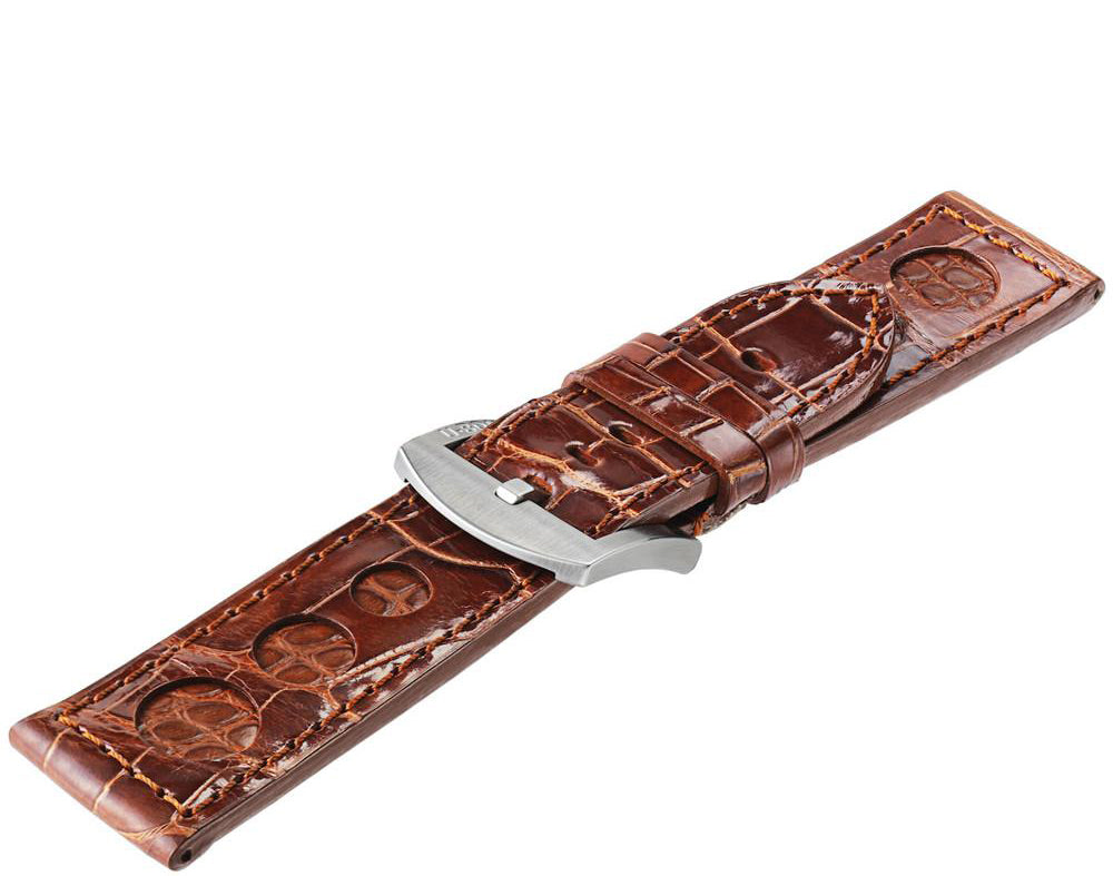 u-boat brown alligator with inset of crocodile d