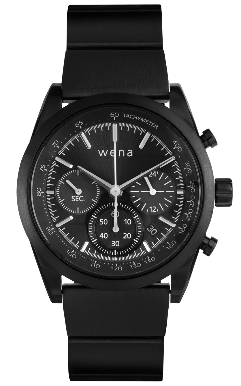 Wena Watch Wrist Pro With Black Solar Chronograph Face
