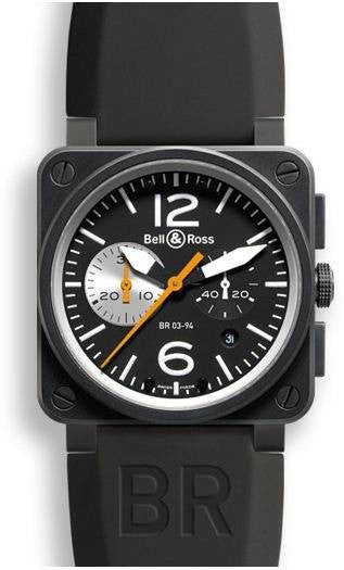 Bell & Ross BR 03 94 Orange Black and White Carbon Dial