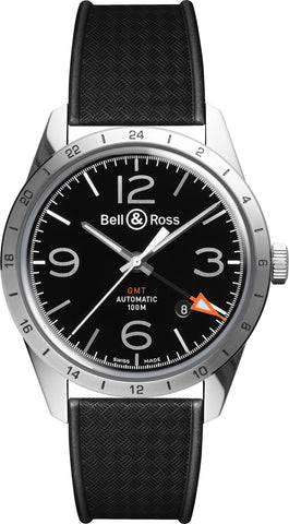 Bell & Ross Watch Vintage BR 123 GMT Officer Rubber