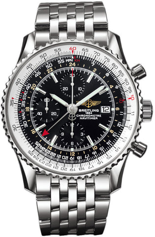 Breitling Watch Navitimer World Black Steel Bracelet