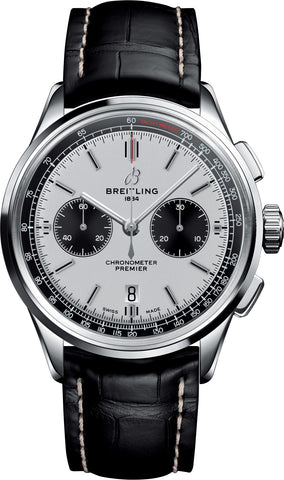 Breitling Watch Premier B01 Chronograph 42 Black Croco Folding