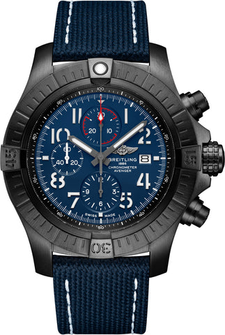 Breitling Watch Super Avenger Chronograph 48 Night Mission Leather Folding Clasp