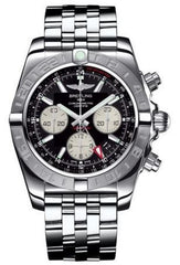 Breitling Watch Chronomat 44 GMT Onyx Black Pilot Steel Bracelet