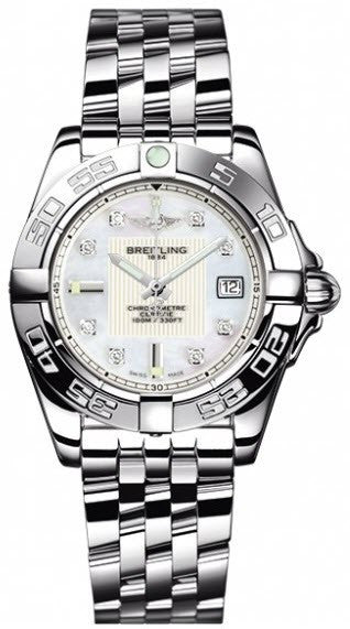 Breitling Watch Galactic 32 Pearl Diamond Pilot Steel Bracelet