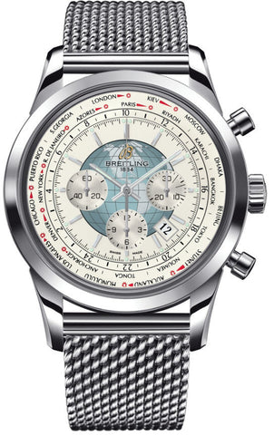 Breitling Watch Transocean Chronograph Unitime Polar White