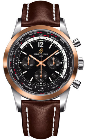Breitling Watch Transocean Unitime Pilot Black Red Gold