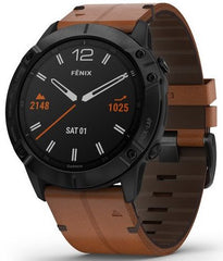 Garmin Watch Fenix 6X Sapphire Black DLC Brown Leather Band