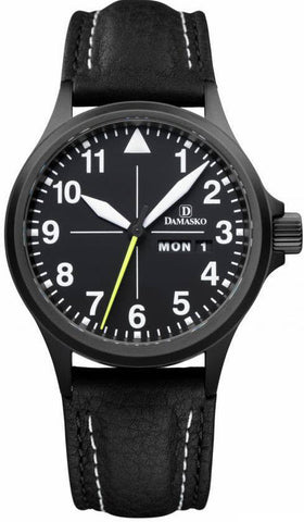 Damasko Watch DA 36 Black PVD Leather Pin