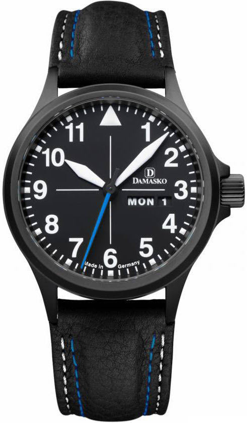 Damasko Watch DA 38 Black PVD Leather Pin