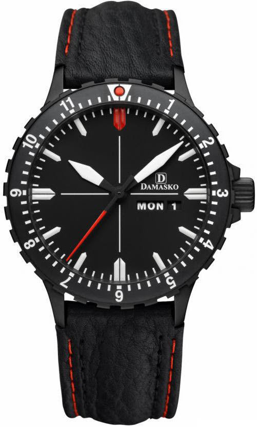 Damasko Watch DA 44 Black PVD Leather Pin