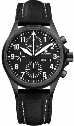 Damasko Watch DC 56 Black PVD Leather Pin