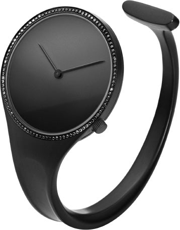 Georg Jensen Watch Vivianna Bangle Black Dial Diamond Bezel Small