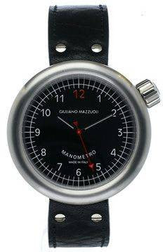 Giuliano Mazzuoli Manometro Brushed Black Dial Right Crown