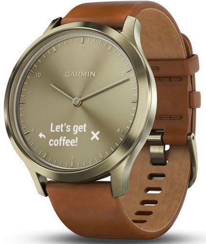 garmin watch vivomove hr gold tone with light brown leather band