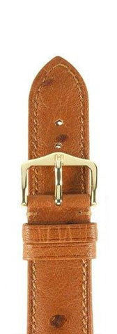 Hirsch Strap Massai Ostrich Gold Brown Large 18mm